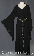 Gown ID:G929, Gown Color:Black, Style:12th Century<br>(shown with belt #BTR0001BZ<br>sold separately), Sleeve:Black drop sleeve, Trim:Pick your own / TBD, Neckline Type:V-Neck, Fabric:Wool Rayon twill, Sleeve Length:32&quot;, Back Length:54.5&quot;.