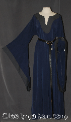 Gown ID:G930, Gown Color:Navy Blue / Charcoal, Style:12th Century (shown with belt  #BT0033BZ-ST<br>sold separately), Sleeve:Drop sleeve with charcoal edging, Trim:None, Neckline Type:Keyhole with charcoal contrast fabric, Fabric:polyester microfiber/ Tencel Twill machine washable, Sleeve Length:32&quot;, Back Length:55&quot;.