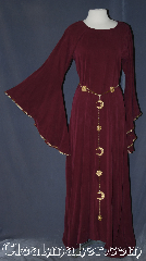 Gown ID:G931, Gown Color:Maroon, Style:12th Century, Sleeve:Long drop, Trim:Maroon gold braid, Neckline Type:scoop, Fabric:Rayon Tensile<br>Machine washable, Sleeve Length:29&quot;, Back Length:53&quot;.