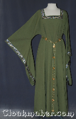 Gown ID:G932, Gown Color:Green woven spots, Style:12th Century, Sleeve:long drop, Trim:Black, gold silver celtic beasties, Neckline Type:Square, Fabric:Cotton<br>Machine washable, Chest Measurement:50&quot;, Sleeve Length:29&quot;, Back Length:55&quot;.