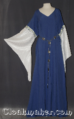 Gown ID:G933, Gown Color:periwinkle/purple, Style:12th Century<br>(shown with<br>Diamond Filigris Chain belt<br>Belt #BT00078ST<br>sold separately), Sleeve:water shimmer white long drop, Trim:Elizabethan Floral gold blue, Neckline Type:V-Neck, Fabric:Linen<br>Machine washable, Sleeve Length:35&quot;, Back Length:60&quot;.