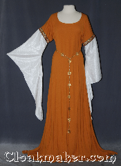 Gown ID:G934, Gown Color:Turmeric, Style:12th Century<br>(shown with<br>Alternating Quatrefoil<br>and Sun Filigris Chain belt<br>Belt #BT00066<br>sold separately), Sleeve:water shimmer white long drop, Trim:Paisley Dancing on the Mountain, Neckline Type:Scoop, Fabric:Wool Rayon, Sleeve Length:30&quot;, Back Length:51&quot;.