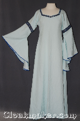 Gown ID:G935, Gown Color:light Green/ blue, Style:12th Century, Sleeve:long drop blue bias, Trim:Florentine, Narrow Silver blue, & red, Neckline Type:Square sweetheart, Fabric:Linen<br>Machine washable, Sleeve Length:30&quot;, Back Length:57&quot;.