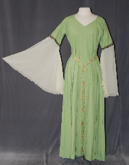 Gown ID:G938, Gown Color:light green, Style:12th Century, Sleeve:Angel recurve open yellow organza, Trim:Running Mosaic Vine Gold/Blue, Neckline Type:V-Neck, Fabric:Linen<br>Machine washable, Sleeve Length:30&quot;, Back Length:58&quot;.