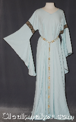 Gown ID:G939, Gown Color:light blue/green, Style:12th Century, Sleeve:long Drop Sleeve olive bias tape, Trim:Paisley fish green, Neckline Type:V-Neck, Fabric:Linen<br>Machine washable, Sleeve Length:29&quot;, Back Length:60&quot;.