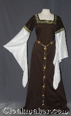 Gown ID:G940, Gown Color:Gold, Green, White, Brown, Style:12th Century<br>(shown with<br>Alternating Quatrefoil<br>and Shield Filigris Chain belt<br>Item #BT00067<br>sold separately), Sleeve:water shimmer white long drop, Trim:Cross Gold, Green, White, Brown, Neckline Type:Square, Fabric:Cotton lycra Sateen, Sleeve Length:30&quot;, Back Length:63&quot;.