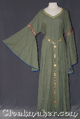 Gown ID:G941, Gown Color:green, Style:12th Century<br>(shown with<br>Alternating Rosett and gate<br>Chain belt Item #BT5792-3849<br>sold separately), Sleeve:Angel recurve blue bias, Trim:Byzantine Circles, Wide gold, Neckline Type:V-Neck with gold braid, Fabric:Linen<br>Machine washable, Chest Measurement:48&quot;, Sleeve Length:34&quot;, Back Length:59&quot;.