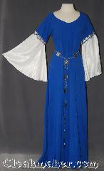 Gown ID:G942, Gown Color:blue gold silver, Style:12th Century<br>(shown with<br>Diamond Filigris Chain belt<br>Belt #BT00078ST<br>sold separately), Sleeve:Angel recurve water shimmer white, Trim:Celtic beasties Blue/Gold/Silver, Neckline Type:Scoop, Fabric:Linen<br>Machine washable, Sleeve Length:29&quot;, Back Length:59&quot;.