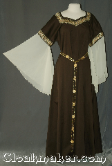 Gown ID:G943, Gown Color:Brown gold black, Style:12th Century<br>(shown with Alternating<br>Rosett and gate<br>Chain belt Item<br> #BT5792-3849<br>sold separately), Sleeve:Angel recurve<br>antique white organza, Trim:Hearts & Diamonds<br>Wide Gold & Black<br>on neck and bicep, Neckline Type:Square V, Fabric:Cotton lycra Sateen, Sleeve Length:31&quot;, Back Length:57&quot;.