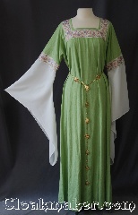 Gown ID:G944, Gown Color:Light Green, Style:12th Century<br>(shown with Alternating<br>Quatrefoil and Sun Filigris<br>Chain Belt #BT00066<br>sold separately), Sleeve:Long Drop Sleeve in white organza<br>Stained Glass Pink and White<br>trim on bicep, Trim:Stained Glass Pink and White<br>on neck and bicep, Neckline Type:Square with Stained Glass<br>Pink and White trim, Fabric:Linen<br>Machine Washable, Sleeve Length:35&quot;, Back Length:57&quot;.