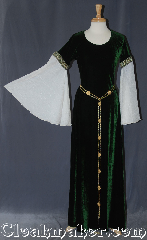 Gown ID:G947, Gown Color:Green, Style:12th Century<br>(shown with<br>Rosett Belt Item #BT3849 <br>sold separately), Sleeve:Angel recurve antique white crushed, Trim:Cross trim at bicep, Neckline Type:Scoop, Fabric:Stretch velvet, Sleeve Length:34&quot;, Back Length:58&quot;.
