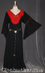Gown ID:G951, Gown Color:Black Red, Style:12th Century, Sleeve:medium bell sleeve, Neckline Type:V-Neck with red collar celtic horse,<br>dragon, and knot embroidery, Fabric:Cotton, Sleeve Length:30&quot;, Back Length:56&quot;.