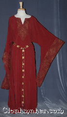 "Gown ID:G952, Gown Color:Red, Style:12th Century, Sleeve:Long Drop sleeve, Trim:maroon tan brocade, Neckline Type:V-Neck with matching brocade, Fabric:Rayon, Sleeve Length:29"", Back Length:58""."