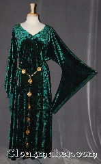 Gown ID:G953, Gown Color:Green, Style:12th Century, Sleeve:Long Drop sleeve<br>with Celtic knotwork<br>(new picture to come), Trim:Celtic knotwork trim on sleeve<br>not shown<br>new picture to come, Neckline Type:V-Neck, Fabric:Crushed Velvet stretch, Back Length:53&quot;.