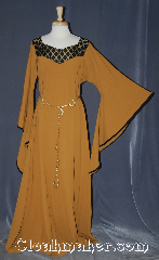 Gown ID:G955, Gown Color:Turmeric, Style:12th Century, Sleeve:Long Drop sleeve, Trim:black tan diamond brocade<br>trim on neckline, Neckline Type:Square  V-neck with black tan<br>diamond brocade trim, Fabric:Wool Suiting, Back Length:59&quot;.