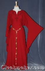 Gown ID:G956, Gown Color:Red, Style:12th Century, Sleeve:Long Drop sleeve, Neckline Type:V-Neck with red collar<br>celtic dragons embroidery, Fabric:Wool Suiting, Chest Measurement:54&quot;, Back Length:57.5&quot;.