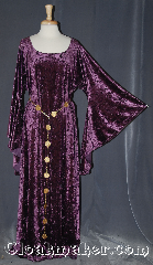 "Gown ID:G957, Gown Color:Purple, Style:12th Century, Sleeve:Long Drop sleeve, Neckline Type:Scoop, Fabric:Crushed Velvet stretch, Sleeve Length:30"", Back Length:57""."