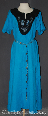 Gown ID:G961, Gown Color:Blue, Style:12th Century, Sleeve:Short, Trim:Celtic Horse<br>and knot embroidery, Neckline Type:V-Neck with Green Collar, Fabric:Linen<br>Machine Washable, Back Length:55&quot;.