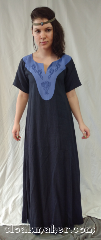 "Gown ID:G964, Gown Color:Dark Blue, Style:12th Century, Sleeve:Short, Neckline Type:Keyhole, Fabric:Linen, Chest Measurement:28"", Back Length:53.5""."