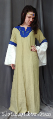 Gown ID:G965, Gown Color:Green with Blue Collar, Style:12th Century, Sleeve:Recurve sleeve, Trim:Green dragon embroidery<br>white recurve sleeves with<br>matching inset fabric<br>with blue knotwork<br>embroidered stripe, Neckline Type:Keyhole, Fabric:Linen, Chest Measurement:31&quot;, Sleeve Length:29&quot;, Back Length:51&quot;.