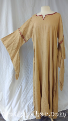 Gown ID:G966, Gown Color:Tan Ecru, Style:12th Century, Sleeve:Long drop sleeves<br>can be removed or replaced<br>with a different type of<br>sleeve upon request, Trim:Rusty Diamonds<br>trim around arms, Neckline Type:Keyhole, Fabric:Linen, Chest Measurement:46&quot;, Sleeve Length:31&quot;, Back Length:59&quot;.