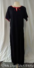 Gown ID:G967, Gown Color:Black with Red details<br>around sleeve & neckline, Style:12th Century, Sleeve:Short, Trim:Contrast Red bias edging, Neckline Type:Keyhole, Fabric:55% linen, 45% rayon, Chest Measurement:46&quot;, Back Length:56&quot;.