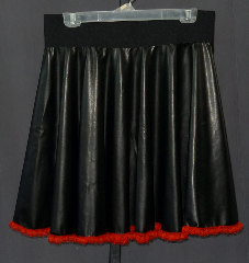 "Skirt:K151, Skirt Color:Black with red lace bottom, Fiber:Pleather with lace bottom, Length:21"", Waist:28-35""."