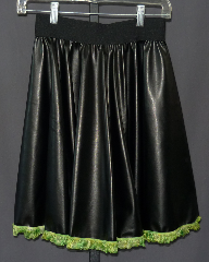 "Skirt:K152, Skirt Color:Black with green lace bottom, Fiber:Pleather with lace bottom, Length:20"", Waist:26-34""."
