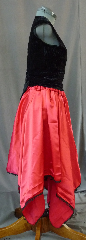"Skirt:K158, Skirt Color:Red Satin with black lace, Skirt Style:dance skirt, Fiber:Satin and Lace, Length:22-34"", Waist:up to 50""."