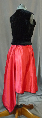 "Skirt:K159, Skirt Color:Red Satin with black lace, Skirt Style:dance skirt, Fiber:Satin and Lace, Length:22"" with a longer back panel, Waist:up to 50""."