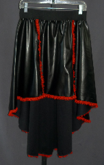 "Skirt:K165, Skirt Color:Black with red lace, Fiber:Pleather with lace front & bottom, Length:Front 18""; Back 32"", Waist:28-40""."