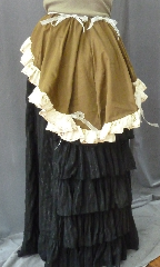 "Skirt:K210, Skirt Color:Brown, Skirt Style:Victorian Back Ruffle, Length:19.5"", Waist:up to 30""."