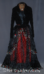 Skirt:K312, Skirt Color:Black, Skirt Style:A Line with<br>attached wrap<br>Sheer Black skirt with<br>embroidered roses with<br>attached matching<br>over skirt<br>Shown with red<br>underskirt, Fiber:Organza, Length:41&quot;, Waist:up to 40&quot;.