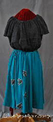 Skirt:K328, Skirt Color:Teal, Skirt Style:A Line<br>Teal green with<br>black & silver<br>applique leaves, Fiber:Silk, Length:27&quot;, Waist:33&quot;.