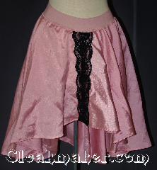 Skirt:K364, Skirt Color:Pink, Skirt Style:Short Asymmetric<br>Solid Pink with Black<br>wide beaded trim<br>Stripe in front, Fiber:Polyester Nylon<br>Shimmer, Length:16&quot;-26&quot;, Waist:40&quot;.