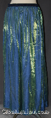 Skirt:K368, Skirt Color:Blue/Green Shimmer, Skirt Style:Long A Line<br>Solid Blue/Green<br>Shimmer with Navy<br> blue elastic waist band, Fiber:Rayon Polyester, Length:48&quot;, Waist:43&quot;.