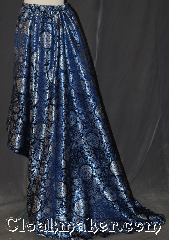 Skirt:K380, Skirt Color:Blue Silver Brocade, Skirt Style:Asymmetric<br>dry clean or hand wash only<br>sold separately<br>shown with KB028 KB011 P401, Fiber:Polyester Brocade, Length:28&quot;-50.5&quot;, Waist:up to 44&quot;.