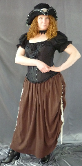 "Skirt:K76, Skirt Color:Cocoa Brown, Skirt Style:Adjustable Double Rouched, Fiber:Cotton Gauze, Length:20/32"", Waist:44""."