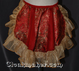 Skirt:KB019, Skirt Color:Paneled Red gold green Brocade<br>and red with gold shimmer ruffle, Skirt Style:Bustle<br>Hand wash or dry clean only, Fiber:Polyester, Length:up to 14&quot;, Waist:Panel 13&quot;.
