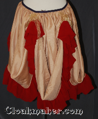 Skirt:KB020, Skirt Color:Gold with red nylon ruffle<br>2 ties for added draped, Skirt Style:Bustle<br>Hand wash or dry clean only, Fiber:Polyester, Length:up to 32&quot;, Waist:Panel 23&quot;.