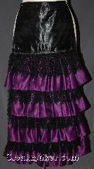 Skirt:KB025, Skirt Color:Purple with black lace accents, Skirt Style:5 tier Bustle<br>Hand wash or dry clean only, Fiber:Polyester, Length:up to 34&quot;, Waist:Panel 13&quot;.