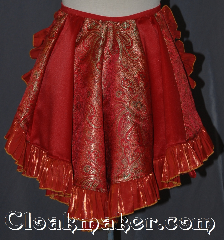 Skirt:KB027, Skirt Color:Paneled Red gold<br>green Brocade<br>red with orange shimmer ruffle, Skirt Style:Bustle<br>Dry clean or hand wash only, Length:up to 13&quot;, Waist:Panel 13&quot;.