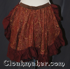 Skirt:KB035, Skirt Color:Maroon yellow and brown<br>tapestry with brown ruffles, Skirt Style:Bustle, Fiber:Cotton, Length:up to 15&quot;, Waist:Panel 14&quot;.
