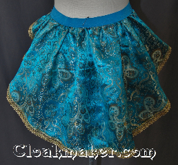 Skirt:KB037, Skirt Color:Teal gold copper and white<br>with gold lace edge, Skirt Style:Bustle, Fiber:Polyester, Length:up to 15&quot;, Waist:Panel 22&quot;.