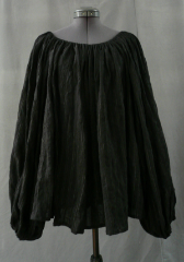 Chemise:P282, Chemise Color:Black with Mylar pinstripes, Neck Style:Elastic, Sleeve Style:Long sleeves<br>gathered elastic cuff, Fiber:cotton/linen gauze, Hip:48&quot;, Arm:32&quot;, Length:23&quot;.