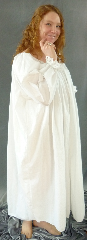 Chemise:P329, Chemise Color:White, Neck Style:Drawstring, gathered, Sleeve Style:Long sleeves<br>gathered cuff lace ends, Fiber:Cotton Muslin, Hip:120&quot;, Arm:21&quot;, Length:45&quot;.