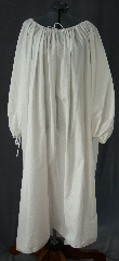 Chemise:P344, Chemise Color:White, Neck Style:Drawstring, gathered, Sleeve Style:Long sleeves<br>gathered drawstring cuff, Fiber:Cotton, Hip:To 80&quot;, Arm:30&quot;, Length:51&quot;.