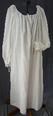 Chemise:P345, Chemise Color:White, Neck Style:Drawstring, gathered, Sleeve Style:Long sleeves<br>gathered drawstring cuff, Fiber:Cotton, Hip:To 80&quot;, Arm:34&quot;, Length:52&quot;.