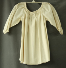 Chemise:P353, Chemise Color:Cream, Neck Style:Elastic gathered, Sleeve Style:Long sleeves<br>lace insert<br>gathered elastic cuff, Fiber:Muslin, Cotton lace trim, Hip:To 36&quot;, Arm:16&#039;, Length:20&quot;.