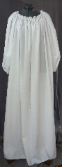 Chemise:P356, Chemise Color:White, Neck Style:Lace drawstring gathered, Sleeve Style:Long sleeves<br>gathered elastic cuff, Fiber:Cotton, Hip:To 100&quot;, Arm:29&quot;, Length:58&quot;.